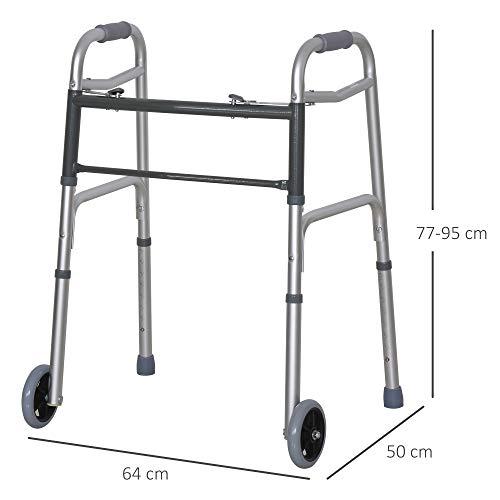 413aHiUKMPL. SL500  - HOMCOM Andador para Ancianos Caminador Plegable con Altura Ajustable Almohadillas de Pies Marco de Aleación de Aluminio 64x50x77-95 cm Plata