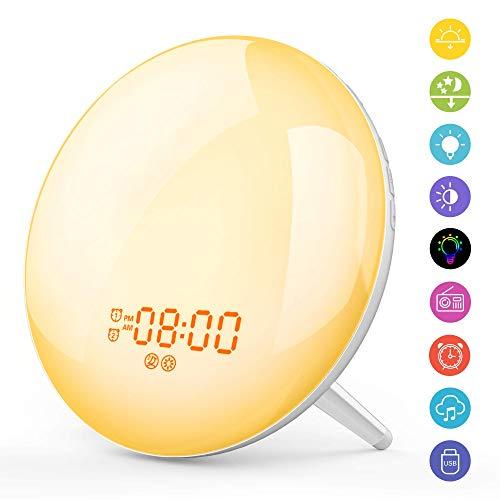 Despertador Luz LED Wake Up Light 2 Alarmas Simulación Amanecer y Atardece, Nocturna luz de 7 Luces Colores, 20 Niveles de Brillo, 8 Sonidos, Radio FM, Función Snooze, Navidad Cumpleaños Regalo