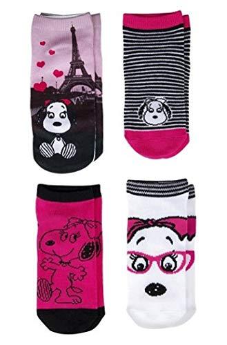 Peanuts Kinder 4-er Pack Sneaker Socken SNOOPY BELLE Größe 27/30 Mädchen pink weiß