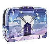 Bolsa de maquillaje portátil con cremallera bolsa de aseo de viaje para las mujeres práctico almacenamiento cosmético Molino de viento púrpura