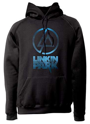 LaMAGLIERIA Sudadera Unisex Linkin Park - Sky Textured Logo - Sudadera con Capucha Nu Metal Rock Band, M, Nero