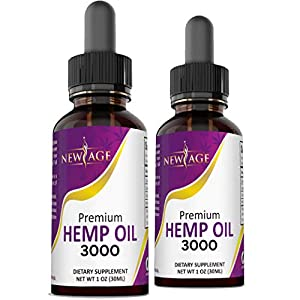 3000 Hemp Oil Extract for Pain & Stress Relief - 2 Pack - Hemp Extract - Grown & Made in USA - Natural Hemp Drops - Helps with Sleep, Skin & Hair.