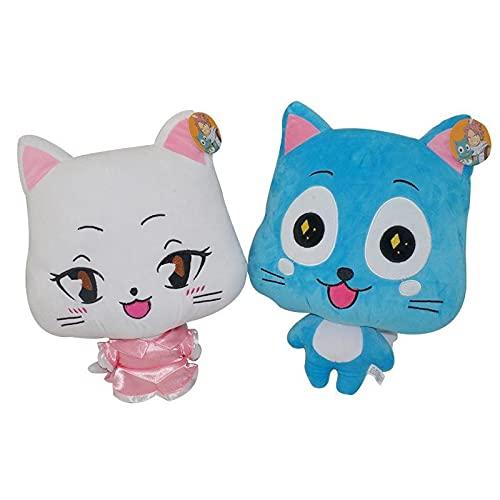 2 PCS Ánimo japonés Cola de hadas Feliz juguete de peluche azul Azul feliz gato peluche suave muñeca animal peluche para bebé niño regalos de cumpleaños 30 cm