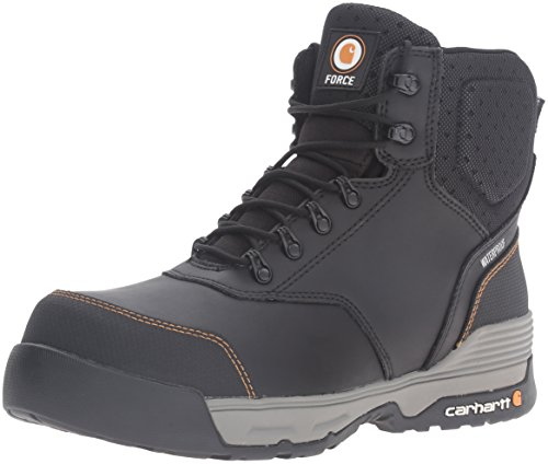 Carhartt Men's 6' Force Lightweight Waterproof Composite Toe Work Boot CMA6381, Black Coated Leather, 12 M US