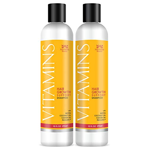 Nourish Beaute Vitamins Shampoo for Hair Loss that Promotes Hair Regrowth, Volume and Thickening with Biotin, DHT Blockers, Antioxidants, Oils and Extracts, For Men and Women, 2 Pack, 10 Ounces Each
