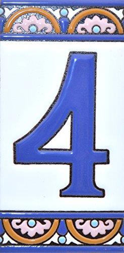 Letreros con numeros y letras en azulejo de ceramica policromada, pintados a mano en técnica cuerda seca para placas con nombres, direcciones y señaléctica. Texto personalizable. Diseño ARCO GRANDE 14,9 cm x 7,4 cm. (NUMERO CUATRO 4)