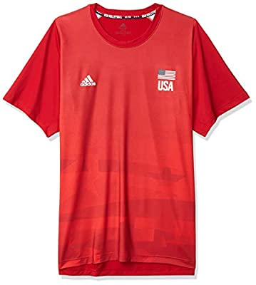 adidas Mens USA Volleyball Primeblue Replica Tee Team Power Red/Vivid Red M/Tall
