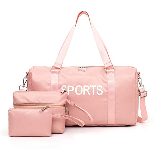 Sporttasche Set 3pc, Seesack/Reisetasche, Kinder Badetasche Gym Tasche Herren schwimmtasche Schultertaschen Reisetasche Jungen Urlaubstasche klein Fitnesstasche groß (46 * 15 * 26cm, 1 Rosa)