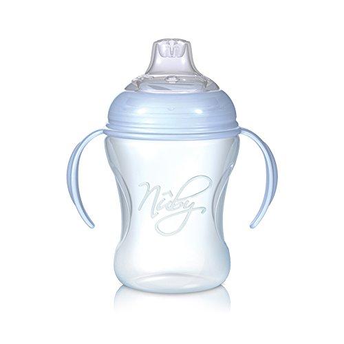 Nuby NT69000 - Auslaufsichere Trinklerntasse 240ml / BLUE Design, Cup mit abnehmbaren Griffelement, weiches Trinkmundstück aus Silikon für variablen Trinkfluss, ab 6 Monaten