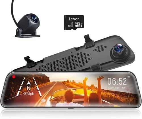 WOLFBOX 30,5 cm Spiegel-Dashcam Backup-Kamera, 1296P Full HD Smart Rückspiegel für Autos und LKW, Sony IMX335 Vorder- und Rückansicht Dual Linse, Nachtsicht, LDWS, Einparkhilfe, kostenlose 32 GB Karte und GPS