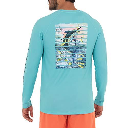 Guy Harvey Men's Feeding Marlin Long Sleeve Sun Protection Top, Florida Keys Marlin, XXX-Large