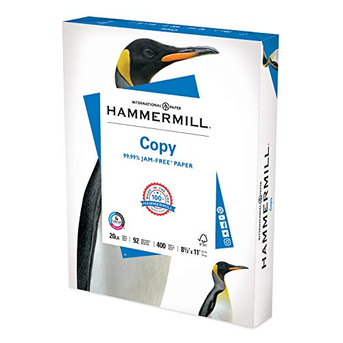 Hammermill Printer Paper, 20 lb Copy Paper, 8.5 x 11 - 1 Small Pack (400 Sheets) - 92 Bright, Made in the USA