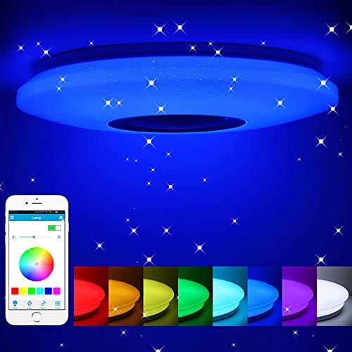 Lámpara de techo led regulable,altavoz RGB con Bluetooth, música para dormitorio, con aplicación a distancia, para habitación de los niños, regalo, 185-265v,40cm,60w