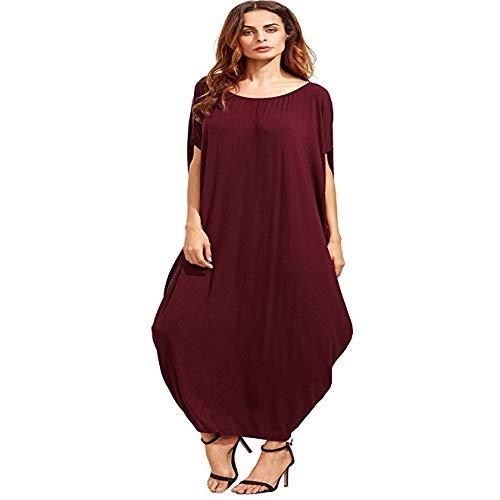 HOSD Vestido Largo Acampanado de Color Liso Plus Size