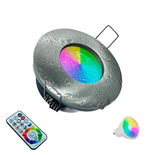 Faretto Silver spazzolato Led da incasso per bagno box doccia lampada RGBW 6000k 10W GU10 cromoterapia con telecomando cambia colore ed effetti partenopeautensili