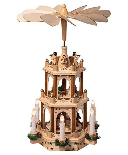 Wichtelstube-Kollektion Holz Weihnachtspyramide mit elektrischem Antrieb und beleuchteten LED Kerzen H:43,5cm