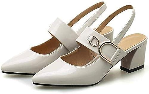 ZHZNVX Chaussures Femme PU (Polyuréthane) Summer Basic Escarpins Chunky Heel Blanc Noir