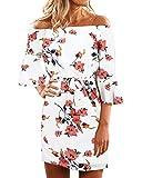 YOINS - Mini Vestido de Verano para Mujer, con Hombros Descubiertos, Estampado Floral al Azar, con diseño de Corbata Blanco Blanco 38-40
