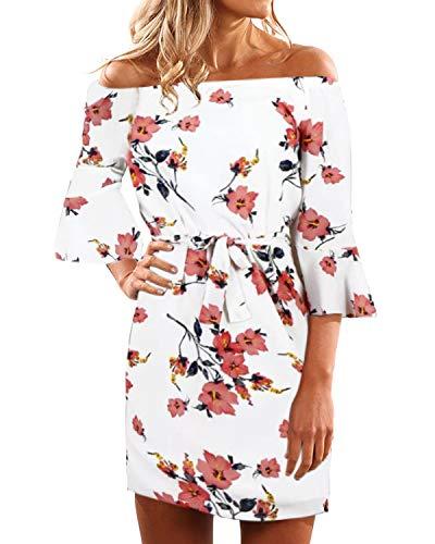 Yoins - Vestido corto de verano con hombros descubiertos, estampado floral, diseño de cintura alta con lazo