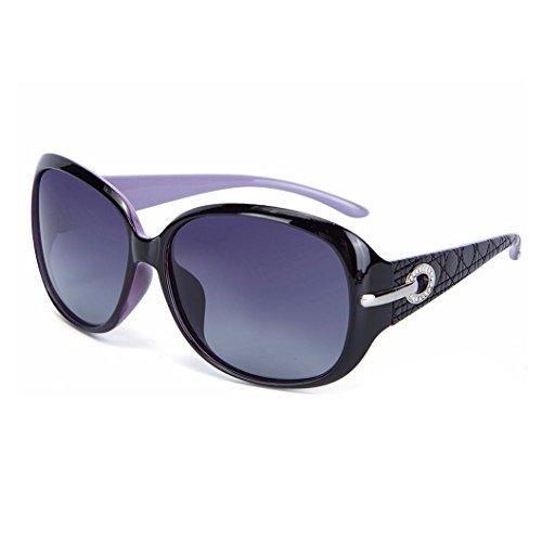 OYMI Womens Latest Style Oversized Polarised Sunglasses 100 UV Protection Set with Rhinestones Purple Frame Grey Lens