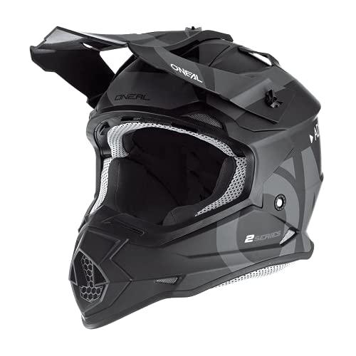 O'NEAL | Motocross-Helm | MX Enduro | ABS-Schale, Sicherheitsnorm ECE 22.05, Lüftungsöffnungen für optimale Belüftung & Kühlung | 2SRS Helmet Slick | Erwachsene | Schwarz Grau | Größe XL