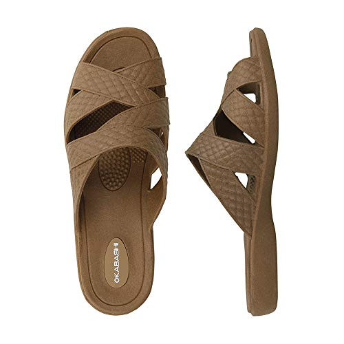 OKABASHI Women's Cross-Strap Sandal (Toffee, ML)   Daily Sandals w/Arch Support   Helps Relieve Foot Soreness & Pain