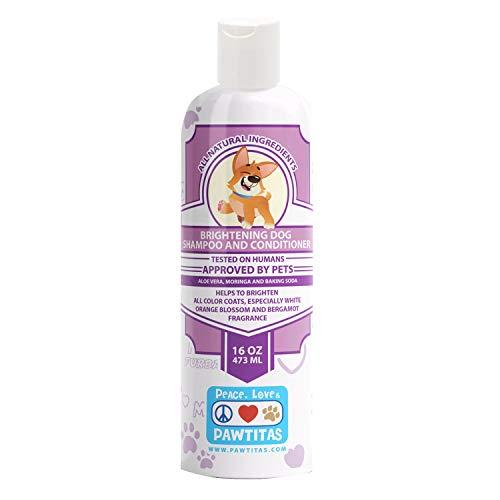 PAWTITAS Hundeshampoo und Pflegespülung mit Haferflocken zur Reinigung, Entflechtung, Feuchtigkeitspflege, Glanz, Desodorierung der Orangenblüte und Bergamotteaufhellung für Ihren Welpen
