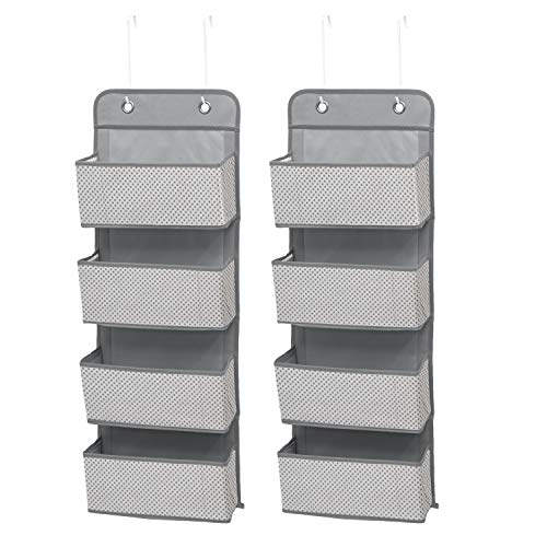 Delta Children 4 Pocket Over The Door Hanging Organizer - 2 Pack, Easy Storage/Organization Solution - Versatile and Accessible in Any Room in the House, Cool Grey