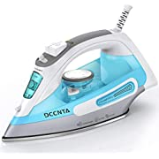 Dcenta Steam Iron for Clothes, Stainless Steel Soleplate Steam Iron with Temperature Dial and Fabrics Selection,1500W Powerful Anti-Drip,3-Way Auto-Off, Self-Cleaning Function Travel Iron for Home