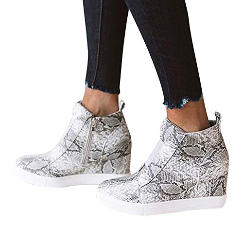 Vertvie Damen Sneaker mit Hoher Absatz Keilabsatz Reißverschluss Ankle Boots Sneaker-Wedges Größe 35-43(Schlange, 37 EU)