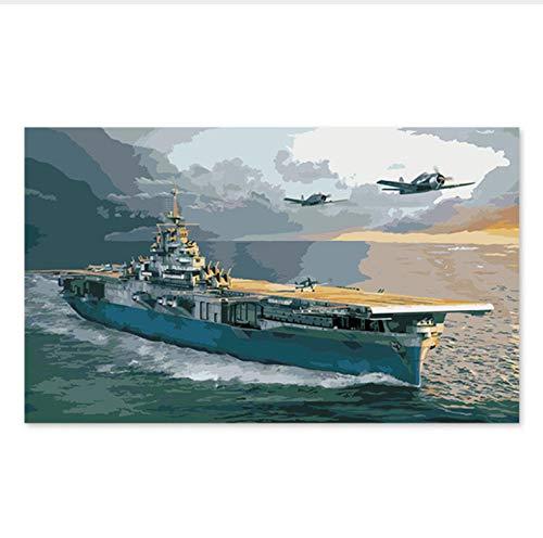Pintura Digital Color De Relleno Coloración Hecha A Mano Regalo Decoración Aviones Militares De La Segunda Guerra Mundial Portaaviones Buques De Guerra Buques De Guerra 50X60CM
