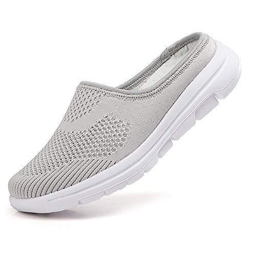 [Anleesi] ウォーキングシューズ リハビリ シューズ 介護靴 レディース 高齢者シューズ 安全靴 通気性 柔軟性 メッシュ 中高齢者靴 老人 靴 おしゃれ グレー 25.0cm