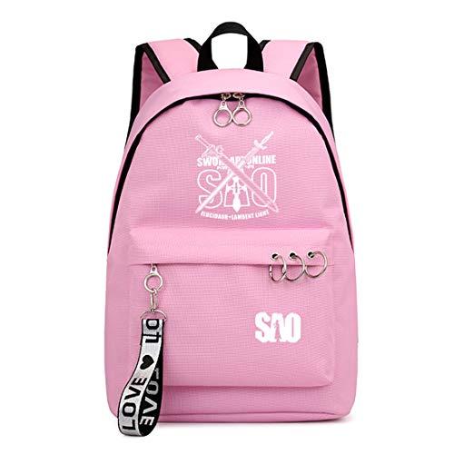 ZZGOO-LL Sword Art Online Kirito/Yuuki Asuna Anime Laptop Backpack Bag Travel Mochilas Daypacks Bolso Ligero Pink