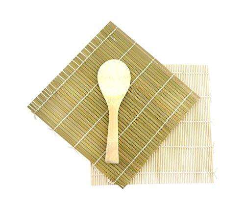 JapanBargain 3675, Sushi Roller Sushi Making Kit Sushi Mat Bamboo Sushi Rolling Mat with Rice Paddle Scoop Set