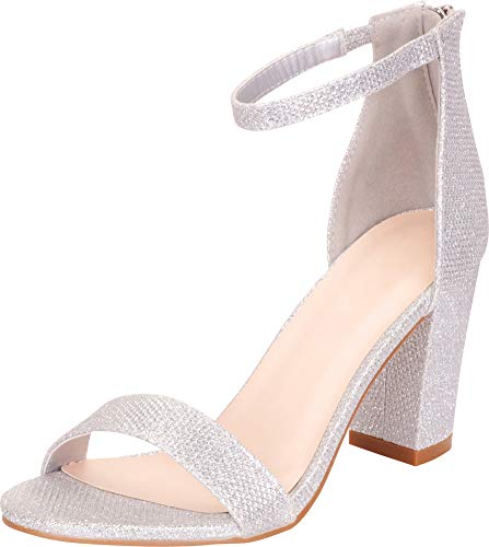 Cambridge Select Women's Open Toe Single Band Stretch Ankle Strappy Chunky Stacked Block Heel Sandal,8 B(M) US,Silver Glitter