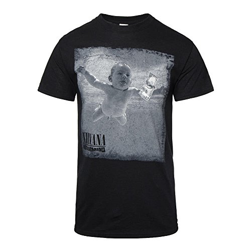Camiseta de manga corta Nevermind de la banda Nirvana (Negro)