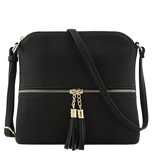 Lightweight Medium Crossbody Bag with Tassel Black