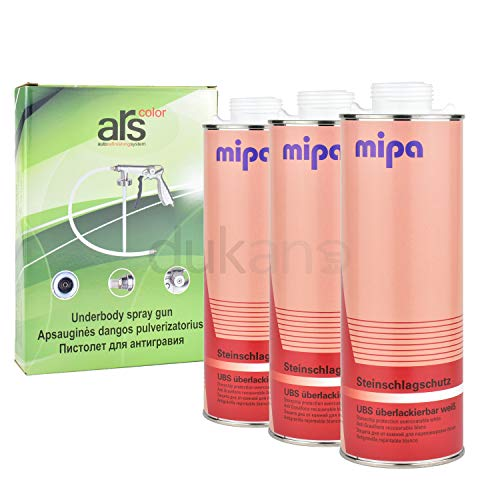 3X Mipa Steinschlagschutz weiß 1L + Druckluftpistole für Unterbodenschutz