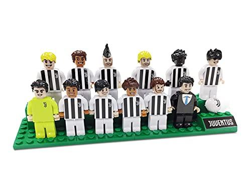 Mondo- Squadra Juve Toys-Brick Team F.C Collezione Juventus Giocatori e Allenatore Nero-25592, Colore Bianco Nero, 25592
