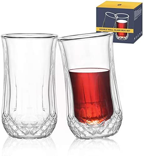 TKS Whiskey Glasses Double Wall Set of 2 Whiskey Glasses in Gift Box Lowball Bar Glasses for product image