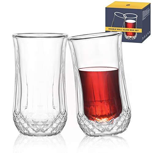 TKS Whiskey Glasses, Hand Blown Double Wall Insulated Glasses Coffee Mugs, Barware, Drinkware, Glassware , Scotch Whiskey glasses 8.4oz/250ml For Whiskey, Espresso, Tea, Latte, Set Of 2 ,Clear