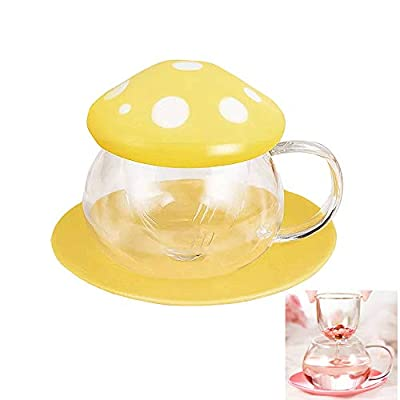 Tea Mug Milk Glass Coffee Cup with Strainer Filter Infuser for Loose Leaf Tea Mushroom Design Cute and Heat Resistant (290ML 9.6oz) (Yellow)