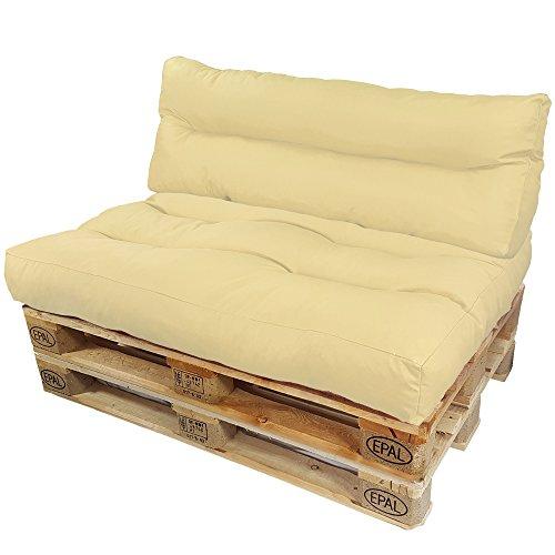 DILUMA Coussins pour Canape Euro Palette Lounge - Créez Un élégant Sofa en Palette résistante aux éclaboussures (Pas Un Ensemble!), Couleur:Crème, Variable:1 Dossier 120 x 40 cm