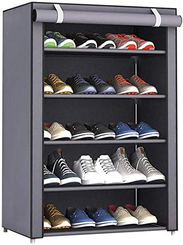GQQ Hgdd 5 Tier Adjustable Shoes Rack Cabinet Storage Organizer Shelf Stand with Oxford Fabric Dustproof Cover up to 15 Pairs,23.6X11.8X35.4In Shoe Shelf/Gris