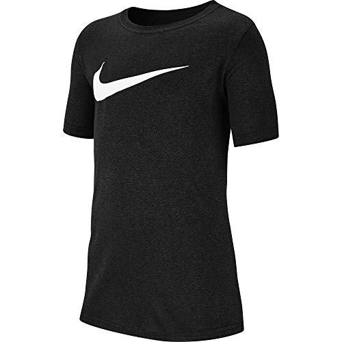 Nike Boy's Dri Fit Swoosh T Shirt Black/Heather/White Size Medium