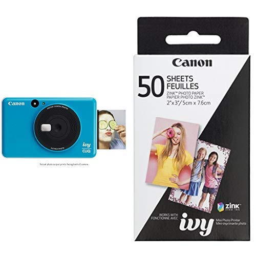 Image of the Canon IVY CLIQ Instant Camera Printer Mobile Mini Printe, Seaside Blue with Canon ZINK Photo Paper Pack, 50 Sheets