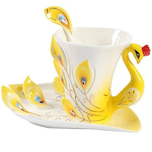 LPRTALK Juego de taza de té de pavo real hecho a mano con esmalte de porcelana azul con forma de pavo real diseño de taza de café y platillo con cuchara tazas de porcelana regalo creativo