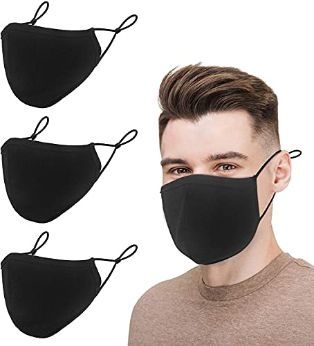 Black Cotton Mouth Protection, 3-Ply Cloth Reusable Washable Adjustable Face Protector, Fashion Adult Safety Dust Breathable Comfortable Mouth Shields for Men & Women (3 Pack,Large)