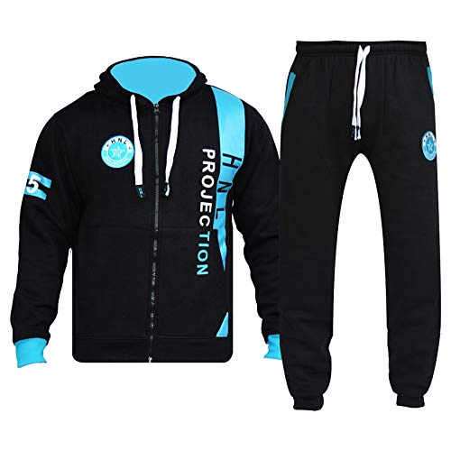 A2Z 4 Kids® Kinder Trainingsanzug Jungen Mädchen Schwarz & Blau Designer - T.S HNL 02 Black Blue_11-12