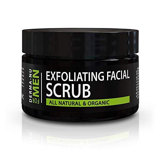 Exfoliating Mens Natural face scrub - Organic for Sensitive Facial Skin - Treats Acne - Unclogs...